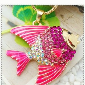 Betsey Johnson Pink Angelfish Necklace